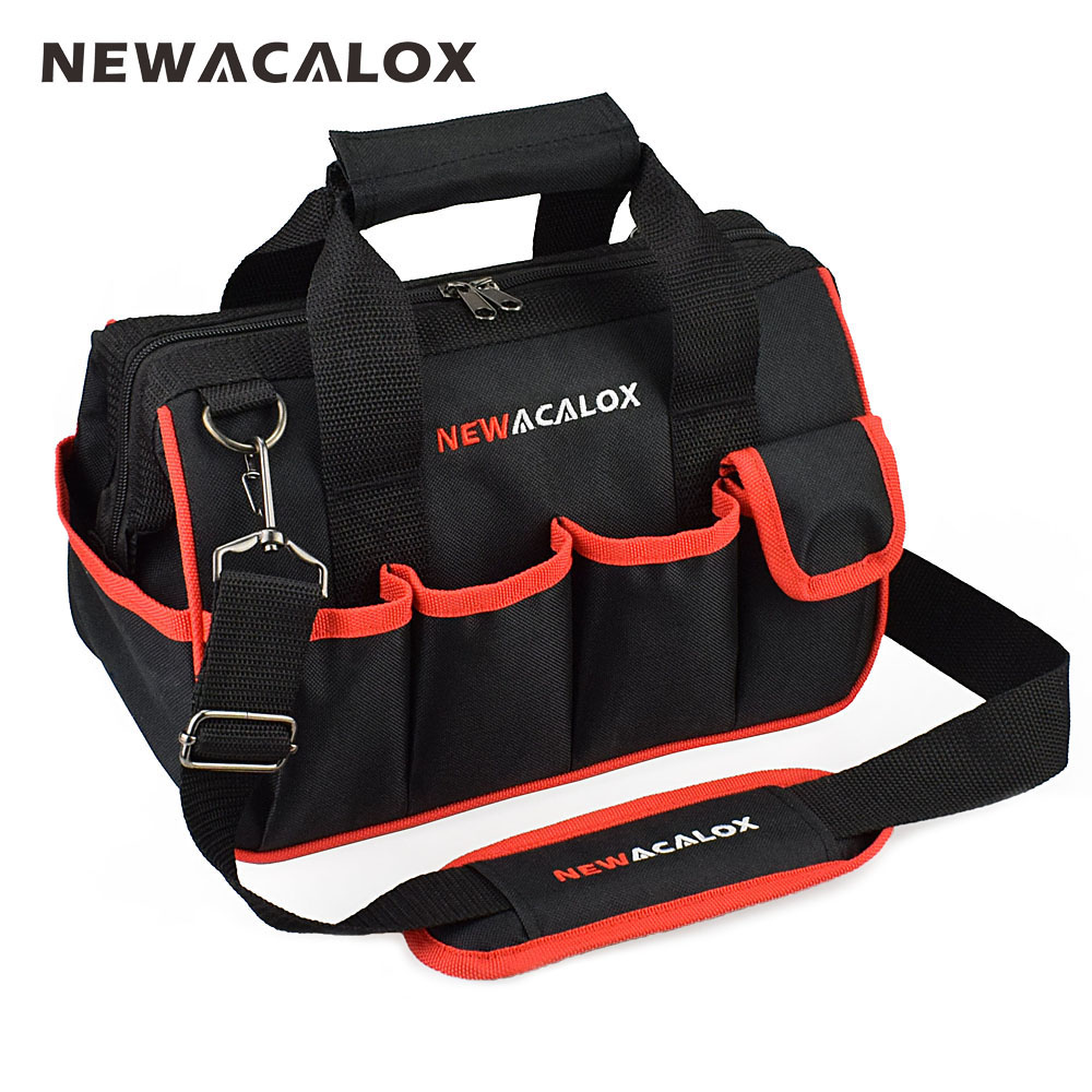 NEWACALOX 12 Tool Bags Small Thicken Hardware Professional Electrician Repair Storage Work Bag Holder 600D Close Top Wide Mouth cropped wide sleeve top