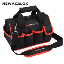 "NEWACALOX 12"" Tool Bags Small Thicken Hardware Professional Electrician Repair Storage Work Bag Holder 600D Close Top Wide Mouth(China)"