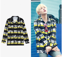 Kpop home new BTS bangtan boys suga same shirt female male unisex long sleeve loose Korean chic young group spring autumn shirt