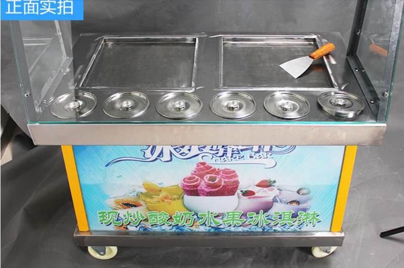 Светодиодное освещение двойной квадрат/Круглый Пан 6 ведра Жареное мороженое рулонной машины, жареные льда Пан машина, r22 льда Пан Мороженое