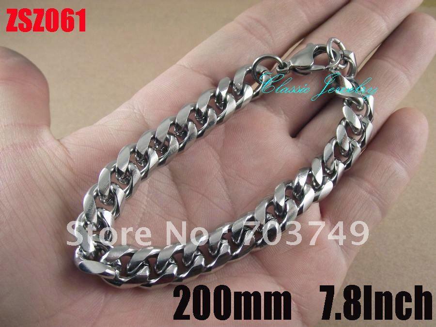 hot sale 10mm fashion 316L stainless steel bracelet 200mm 7.8Inch man Jewelry Brace lace bangle chains ZSZ061