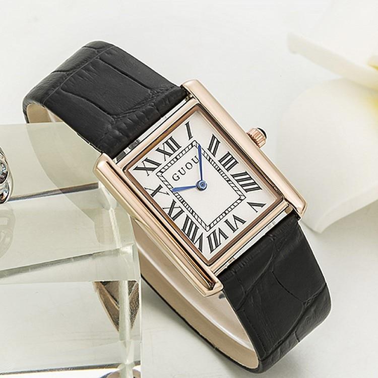 GUOU Authentic Korean Edition Watch Rectangular Belt Retro Rome Scale Quartz Watch Wholesale