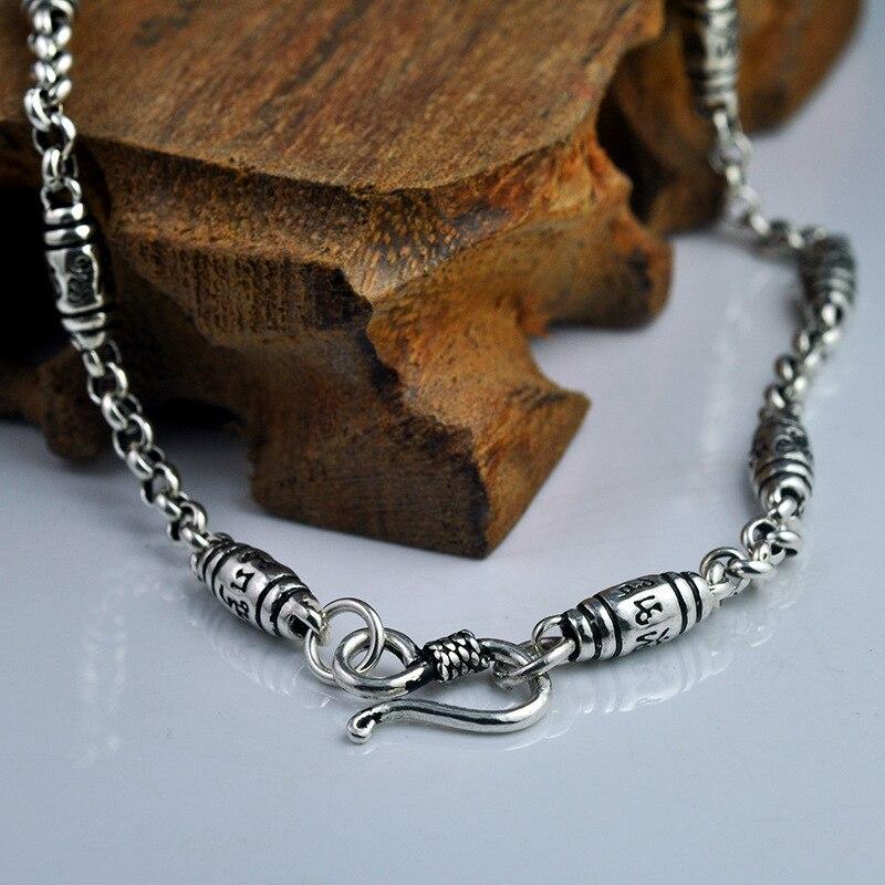 925 collier Vintage en argent Sterling pour hommes et femmes gravé Six mots Mantra Thai argent chandail chaîne OM collier amulette