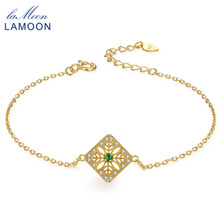 LAMOON 2mm 0.06ct 100% Natural Emerald 925 Sterling Silver Jewelry 14K Yellow Gold Plated Chain Charm Bracelet S925 LMHI003