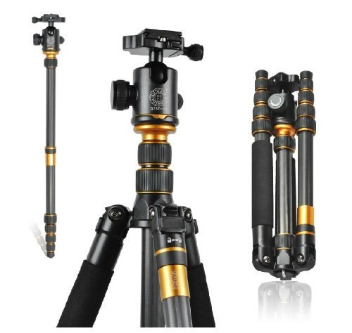 F09931 Q 666C Portable Carbon Tripod Monopod Kit Ball Head Compact Travel Carbon SLR Camera Tripod