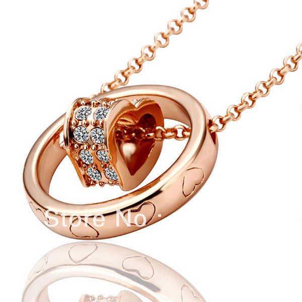 LN028 Rose Gold Color Austrial Crystal Pave Heart Link Pendant