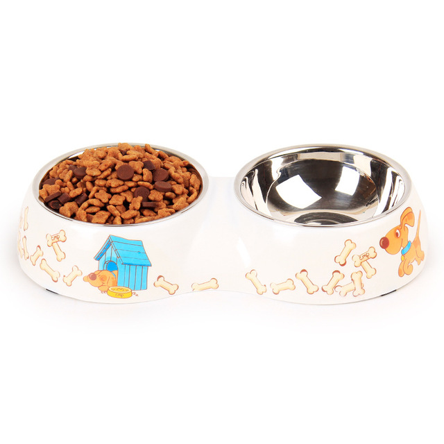 Pet Dog and Cat Bowl Porcelain Printing A Pair of Bowl of ABS Environmental Stainless Steel Bowl