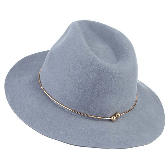 7d75ac7d7 US $14.78 12% OFF|Brand New Women Wool Fedoras Hats With Metal Ring Wide  Brim Panama Hat Winter Warm Jazz Caps Elegant Lady Church Hat Sombrero -in  ...