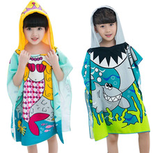 Polyester Mermaid Shark Pattern Beach Towel Baby Children Hooded Bath Towel Baby Boys Girls Cartoon Bath Soft Towel for Baby
