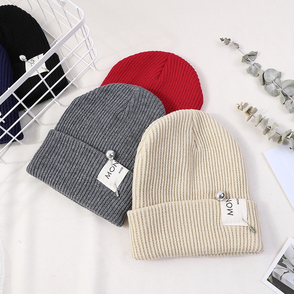 2222b55cbee Black Knit Winter Hats For Men Women Beanies Hat Cot Unisex Winter ...