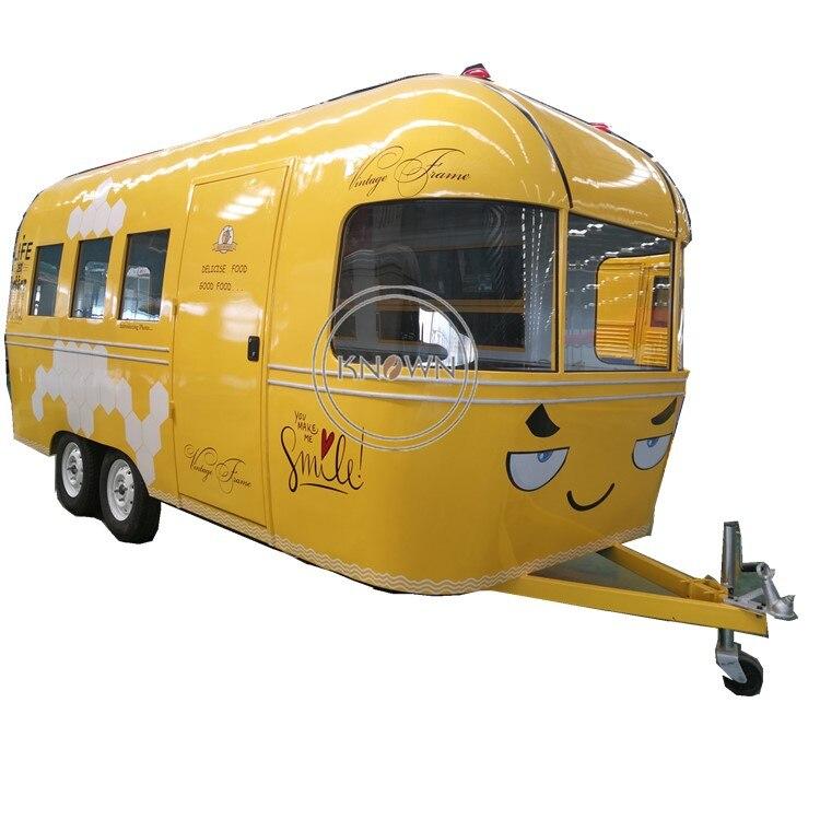 Fabricant fournir personnalisé 5m Smiley visage électrique crème glacée camion mobile alimentaire chariot remorque pour les entreprises de restauration rapide