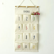 Cotton Storage Bags Hanging Bags 12 Pocket Curriculum Schedule Storage Bags Hanging Cabinet Wall Pendant