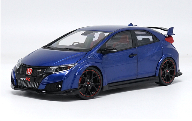 1 18 Diecast Model For Honda Civic Type R 2016 Blue Alloy Toy Car