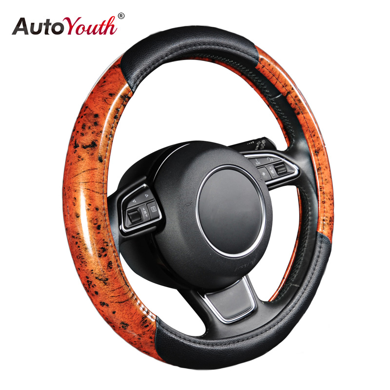 AUTOYOUTH Hot Auto Car Steering Wheel Cover Leather Fits 38cm/15 inch Diameter Car-styling Car Accessories autoyouth hot car wheel cover pu leather steering wheel cover fit 38cm red wavy bold line for vw golf 4