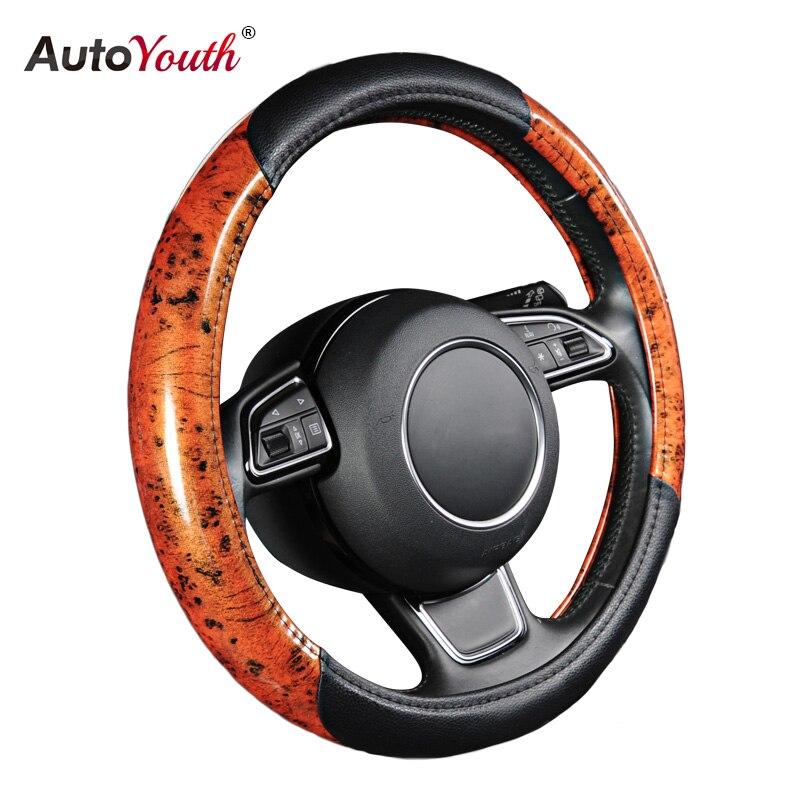 AUTOYOUTH housse de volant de voiture Auto chaude en cuir convient aux accessoires de voiture de 38 cm/15 pouces de diamètre pour rav4 funda volant