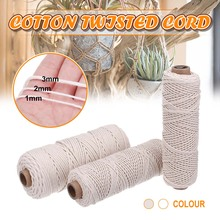 1/2/3mm Diameter Twisted Cord Cotton Rope 100M Length DIY Craft String Braided Macrame Cord for Handmade Tying Thread Cord