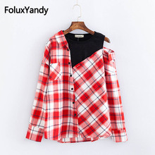 Casual Asymmetrical Blouse Long Sleeve Women Plus Size 3XL 4XL Plaid Blouse Shirt KKFY2435