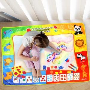 Image 2 - 120*90cm Funny Magic Water Drawing kolorowanka Doodle Mat z 4 magiczny długopis malowanie tablica do pisania dla dzieci zabawki urodziny prezent