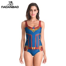 цена на 2019 New Sleeveless Swim Suit  Sexy Cosplay 3D Captain Marvel Bathing Suit  Printed Girl Swimsuit One Piece Swimwear For women