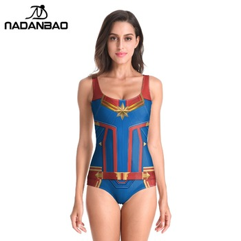 2019 New Sleeveless Swim Suit  Sexy Cosplay 3D Captain Marvel Bathing Printed Girl Swimsuit One Piece Swimwear For women