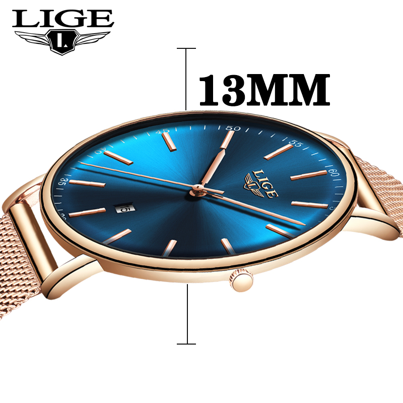 LIGE Women Watches Stainless Steel Mesh Belt Waterproof Watch Simple 8mm Ultra-thin Quartz Watch Wrist Watches For Women + Box