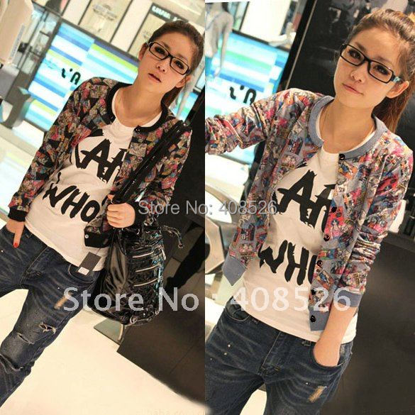 Hot Fashion Girl Lady Sweater Comic Cartoon Jacket Outerwear Long Sleeve Coat Sweater 2 colors free shipping 30