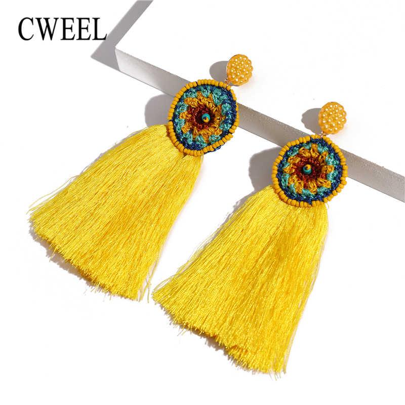 CWEEL Za Fransen Quaste Ohrringe Für Frauen Böhmischen Bijoux Erklärung Earing Handmade Gelb Farbe Lange Baumeln Ohrring