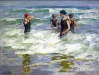 Pintura a óleo praia cena banhistas no surf i edward henry potthast arte sobre tela artesanal de alta qualidade