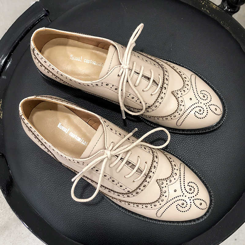 Women's Flats Oxford Shoes Woman Genuine Leather Sneakers Ladies Brogues Vintage Bullock Carved Casual Shoes for Women Footwear