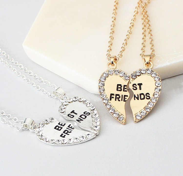 Duas peças de colares de cristal do amor, do coração da moda, de ouro, de cristal, para casais, coreano, moda feminina, modelo bijoux