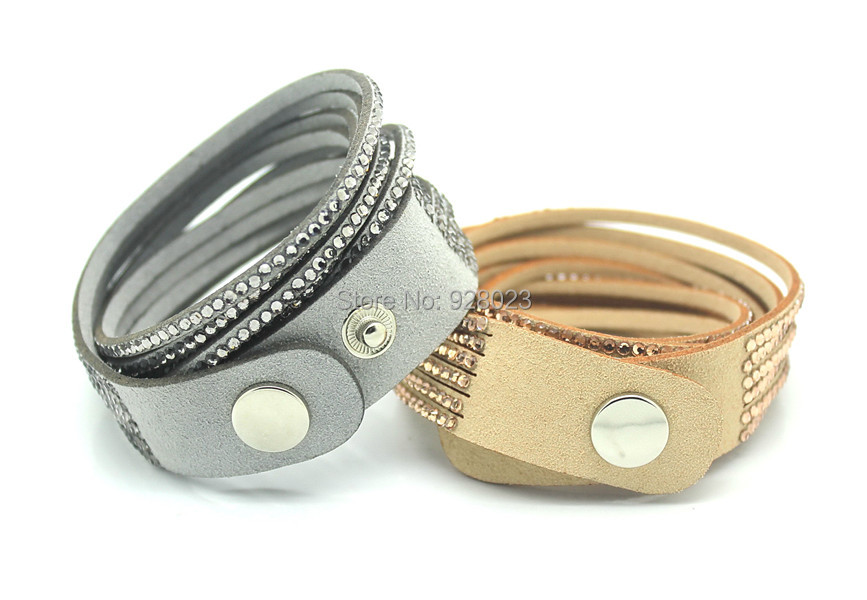 Fashion 6 Layer Wrap Bracelets Slake Leather Bracelets With Crystals Couple Jewelry womans bracelet 2