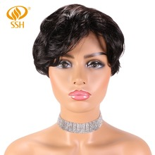 SSH Human Hair Short Wigs For Women Brazilian Natural Wave Non-Remy No Smell
