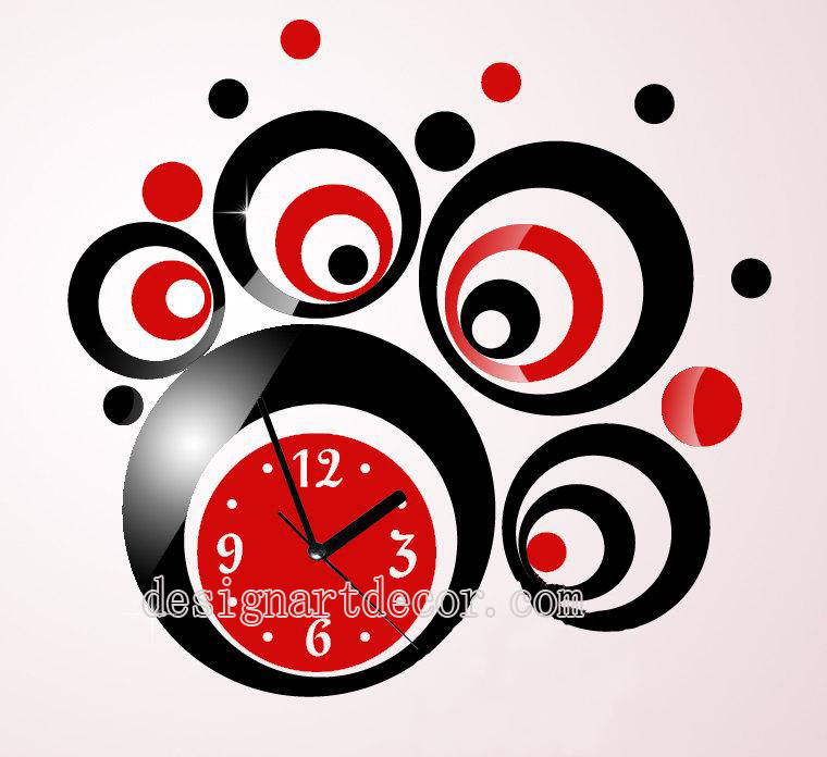 Moderne horloges murales rouge et argent cercle 3d horloge for Horloge murale design rouge