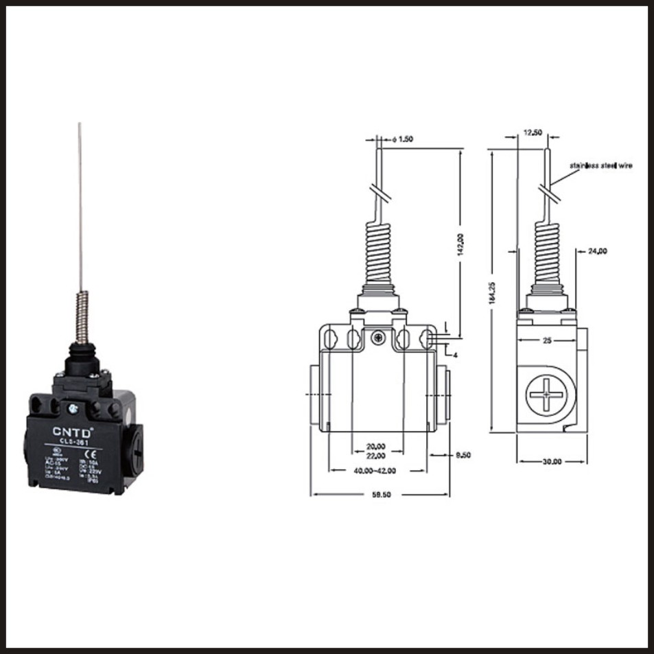 switch travel limit switch 24a electrical safety key interlock switch compact prewired limit micro switch cls 361 [ 953 x 953 Pixel ]