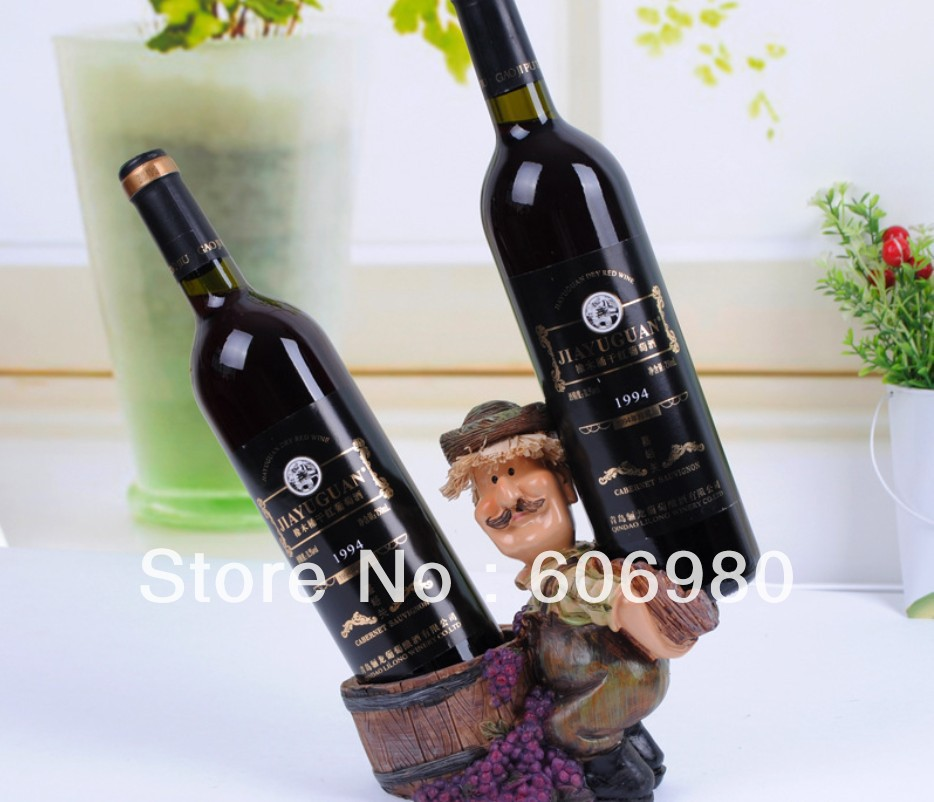 Resin High Grade European Style Rural Farmer Wine Rack Fashion Home Decoration Wine Holder Wholesell