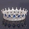Cabeça grande Do Vintage Jóia de Cristal Azul de Noiva coroas Pageant Rainha Tiara Acessórios Do Cabelo Do Casamento Strass Rodada Completa