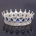 Large Vintage Head Jewelry Blue Crystal Bridal Pageant Tiara Queen Wedding Hair Accessories Rhinestone Full Round crowns