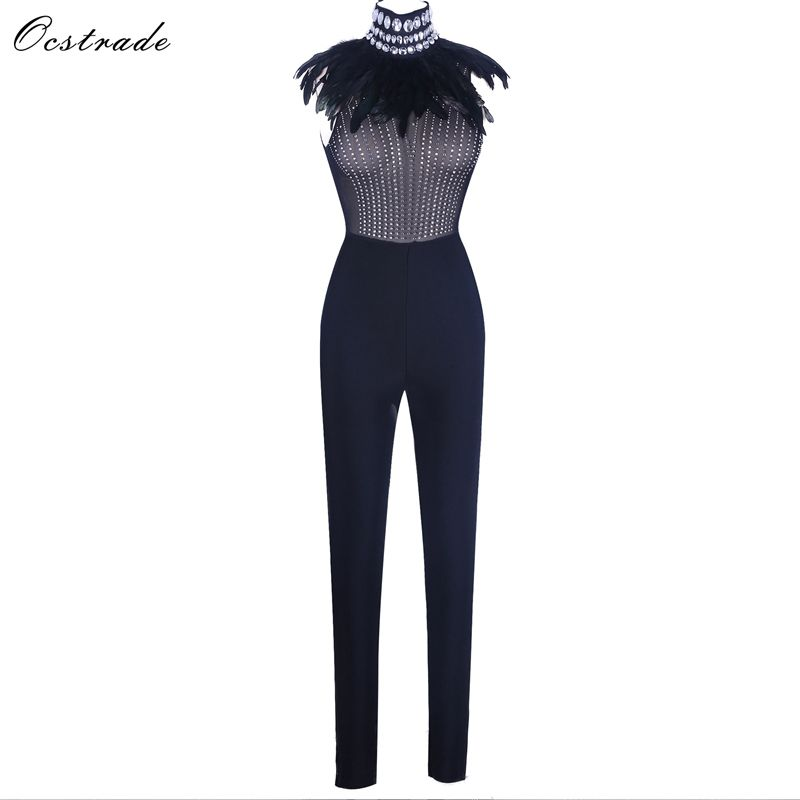 Ocstrade Black High Neck Sleeveless Maxi Beaded Fashion Bandage   Jumpsuits   H0185-Black