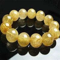 17mm Brazilian Genuine Natural Yellow Gold Neddle Titanium Rutilated Quartz Crystal Round Beads Women Mens Stretch Bracelet