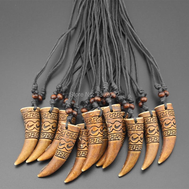 Лот 12 шт. крутая Мужская подвеска амулет с имитацией кости тотем зуб волка Подвеска Амулет ожерелье Подарки MN334