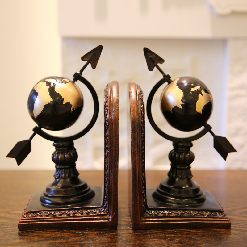 1 Pair/Set Classic European Artistic Globe-Shaped Bookend for Office Supply & Home Decoration globe shaped aluminum shell precise compass