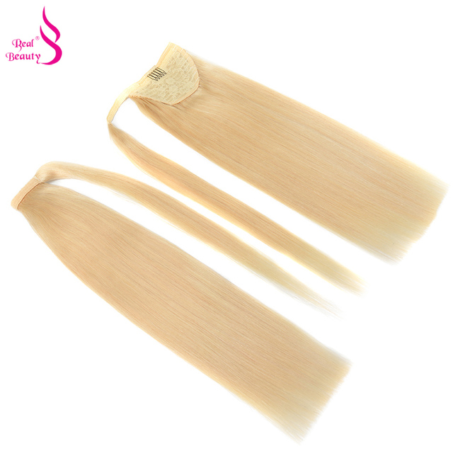 Real Beauty Brazilian Remy Ponytail Wrap Around Horsetail 100% Straight Human Hair Ponytail  60/100/120g Hairpieces 1
