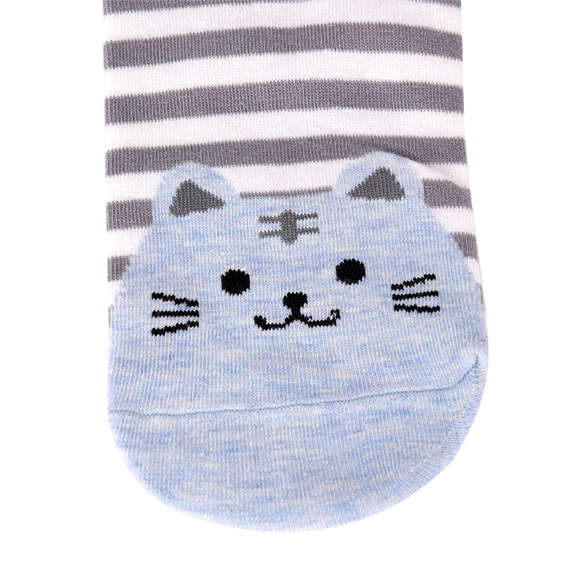3D Animals Style Striped Cartoon Socks Women Cat Footprints Warm Cotton Socks Lady Floor Meias Socks