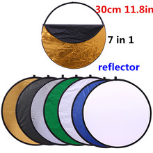 CY 12in 30cm 7 in 1 Portable Collapsible Light Round Photography Reflector for Studio Multi Photo Disc Photographic Accessories