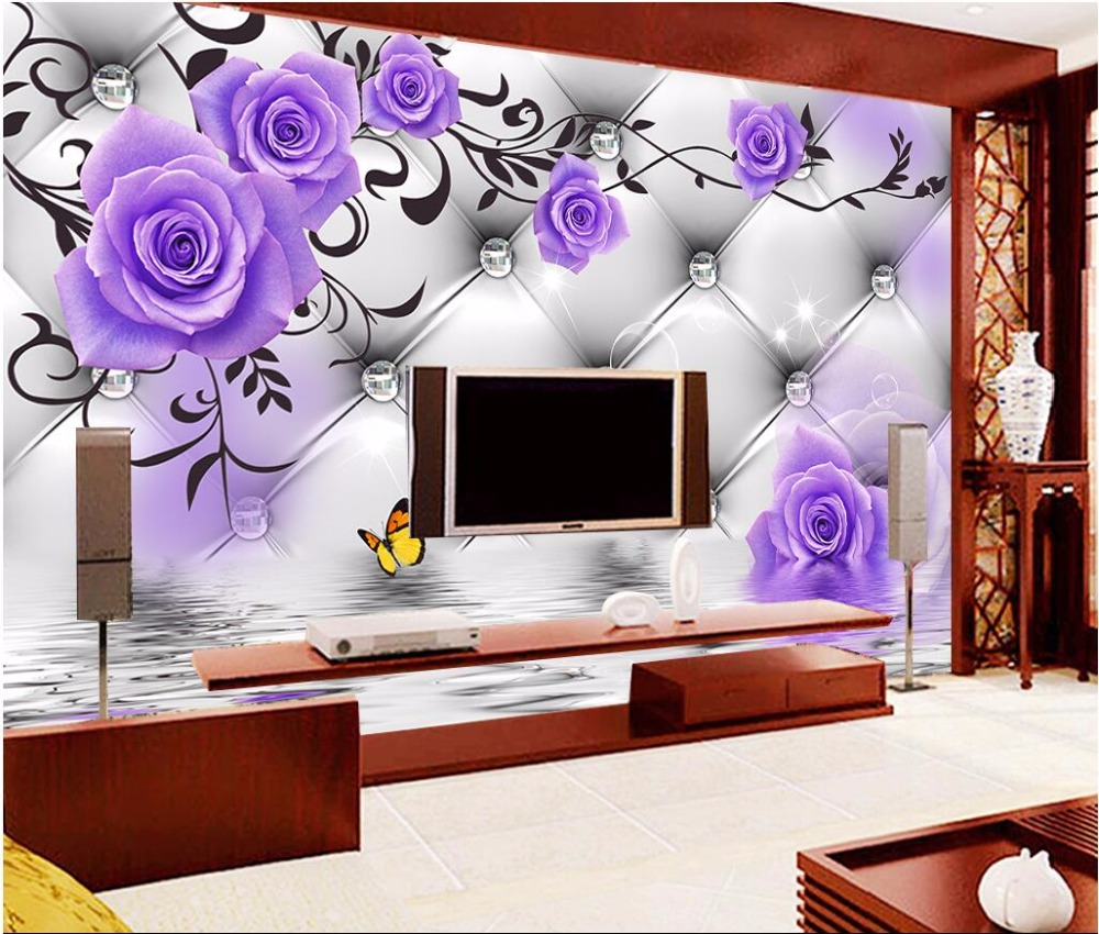 US $15 34 OFF Custom Photo 3d Room Wallpaper Mural Purple Rose Pattern Picture Painting 3d Wall Murals Wallpaper For Living Room Walls 3