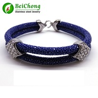 10 Pieces Lot Black Stingray Bracelet With Top Quality 316L Stainless Steel Buckle Gtingray Leather