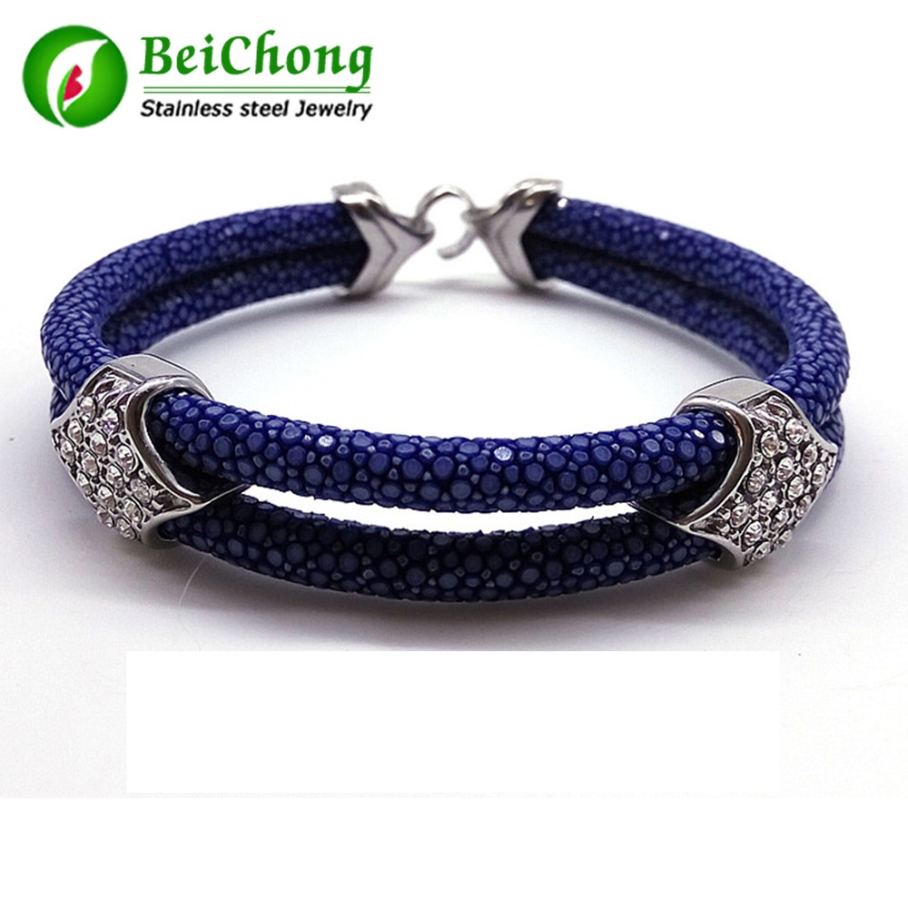 (10 pieces/lot) Black Stingray Bracelet With Top Quality 316L Stainless Steel Buckle Gtingray Leather Bracelet For Men