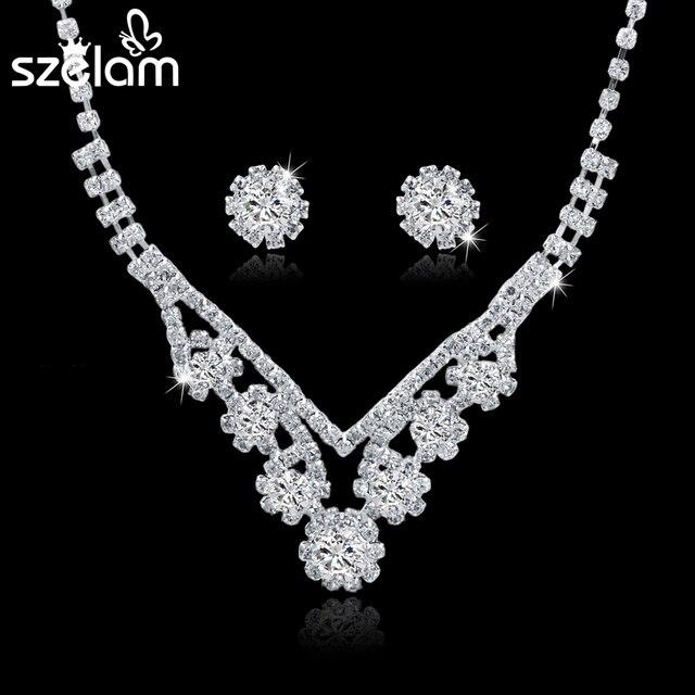 Szelam Femme Rhinestone Wedding Jewelry Sets Bridal Women Long Tassel Necklace Earrings Jewellery Set Accessories SET150067