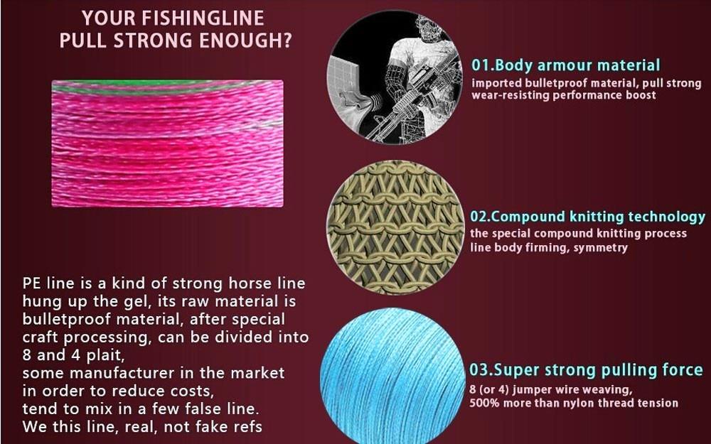 pe super fibra trançada linha de pesca 0.1mm-0.55mm linha