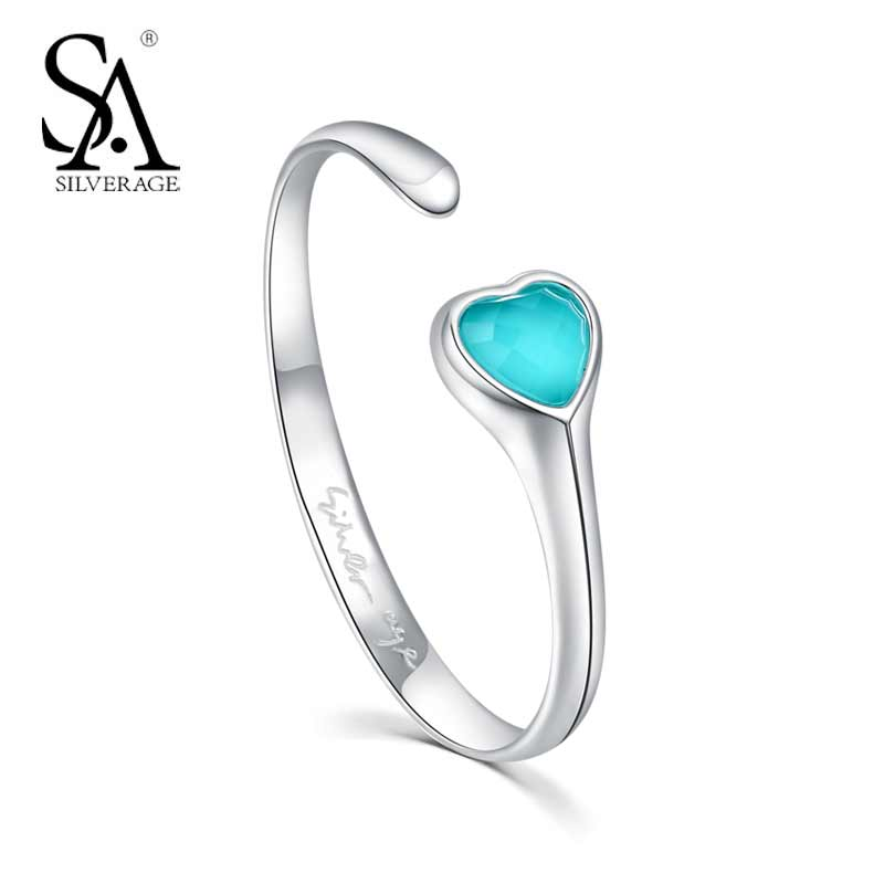 цена Real 925 Sterling Silver Turquoise Hearts Bracelets & Bangles for Women 2018 Classic Design Sterling Silver Fine Jewelry